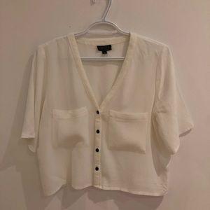TOPSHOP White Short Sleeve Blouse